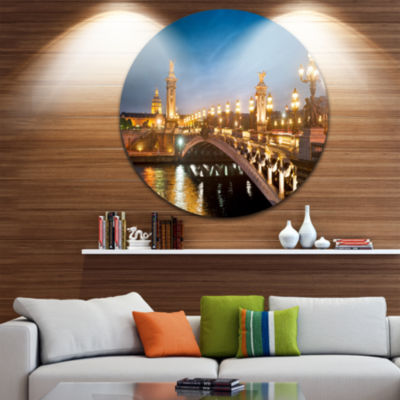 Design Art Pont Alexandre III Bridge Circle MetalWall Art