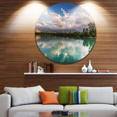 Design Art City Lake with Cloud Reflection CircleMetal Wall Art
