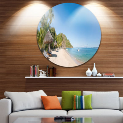 Design Art Beach with Chairs and Umbrellas CircleMetal Wall Art