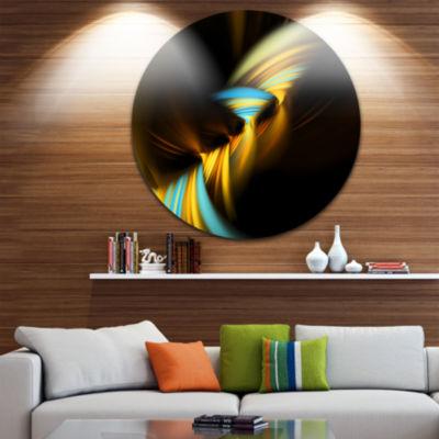 Design Art Fractal 3D Layers Yellow Blue Circle Metal Wall Art