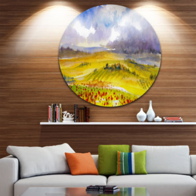 Design Art Beautiful Tuscan Hills Italy Circle Metal Wall Art