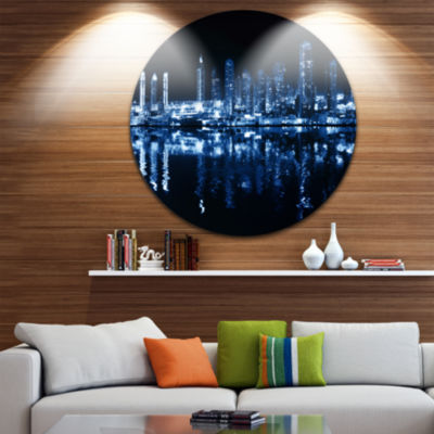Design Art Glowing City at Midnight Circle Metal Wall Art