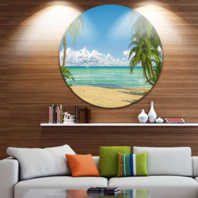 Design Art Palms at Caribbean Beach Circle Metal Wall Art