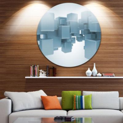 Design Art Light Blue 3D Cubes Circle Metal Wall Art