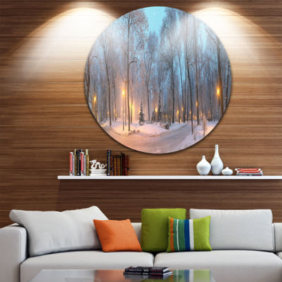 Design Art Winter Time Mariinsky Garden Circle Metal Wall Art