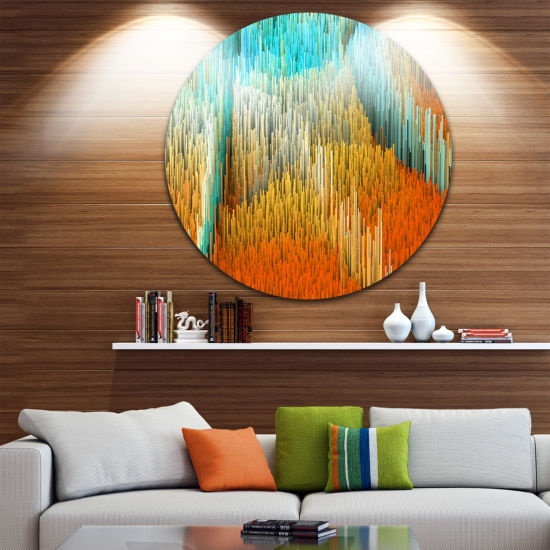 Design Art Macro Render Structure Yellow Orange Circle Metal Wall Art