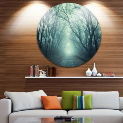 Design Art Scary Forest with Green Light Circle Metal Wall Art