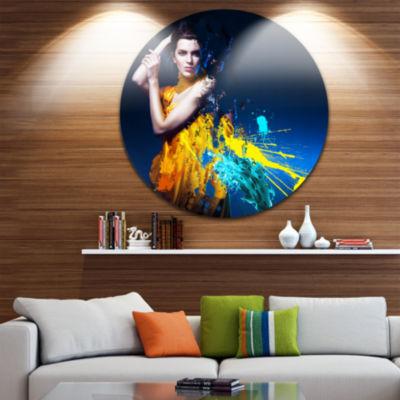 Design Art Sexy Woman in Long Yellow Robes CircleMetal Wall Art