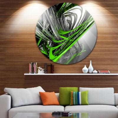 Design Art Fractal 3D Green Silver Stripes CircleMetal Wall Art
