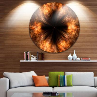Design Art Fractal Black Brown Flower Circle MetalWall Art