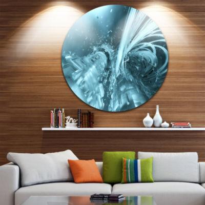 Design Art Fractal 3D Light Blue Collision CircleMetal Wall Art
