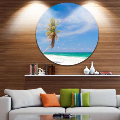 Design Art Solitary Coconut Palm at Beach Circle Metal Wall Art