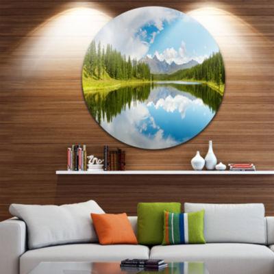 Design Art Bright Mountain Lake Panorama Circle Metal Wall Art