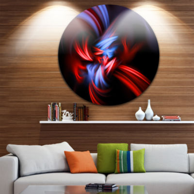 Design Art Fractal Red Connected Stripes Circle Metal Wall Art