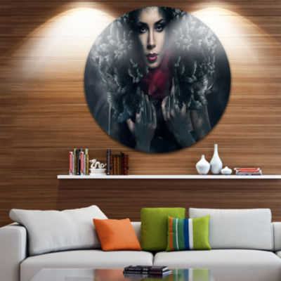 Design Art Passionate Woman in Feather Hood CircleMetal Wall Art