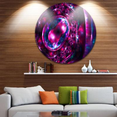 Design Art Ornate Sparkle Violet and Blue Circle Metal Wall Art