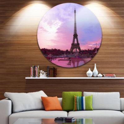 Design Art Paris Eiffel Towerin Purple Tone CircleMetal Wall Art