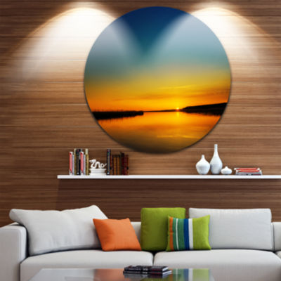 Design Art Orange Sunset Over River Circle Metal Wall Art