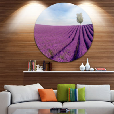 Design Art Lavender Field with Solitary Tree Circle Metal Wall Art