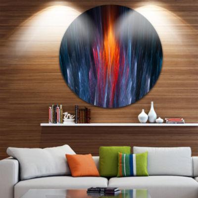 Design Art Fractal Fire in Light Blue Circle MetalWall Art