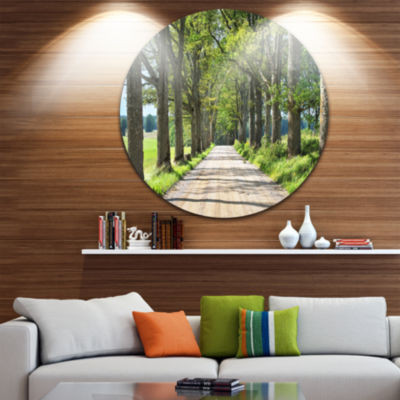 Design Art Old Road through Alley Circle Metal Wall Art