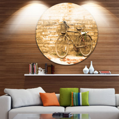 Design Art Vintage Bicycle against Brown Wall Circle Metal Wall Art