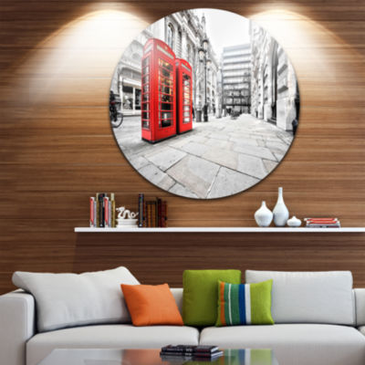 Design Art Phone Booths on Street Ultra Vibrant Cityscape Metal Circle Wall Art