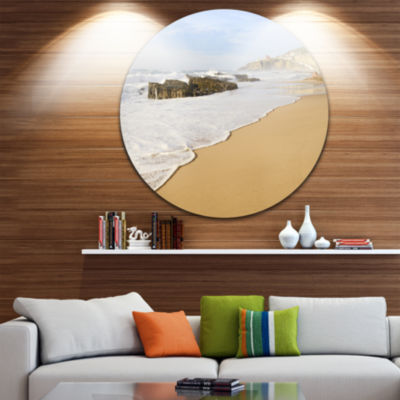 Design Art Magoito Beach Portugal Ultra Vibrant Seascape Metal Circle Wall Art
