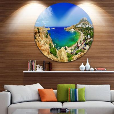 Design Art Lindos Bay Greece Panorama Landscape Photography Circle Metal Wall Art