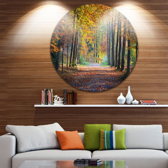 Design Art Wide Pathway in Yellow Fall Forest Circle Landscape Circle Metal Wall Art