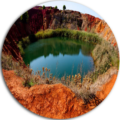 Design Art Bauxite Mine with Lake Landscape PhotoCircle Metal Wall Art