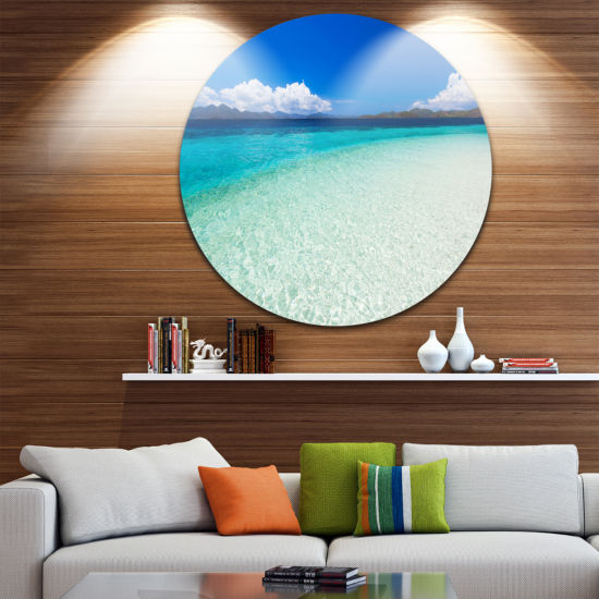 Design Art Vacant Beach with Turquoise Water UltraVibrant Seascape Metal Circle Wall Art