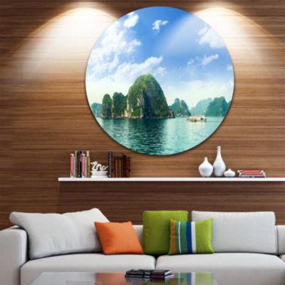 Design Art Ha Long Bay in Vietnam Ultra Vibrant Seascape Metal Circle Wall Art