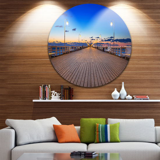 Design Art Molo in Sopot at Baltic Sea Ultra Vibrant Sea Bridge Metal Circle Wall Art