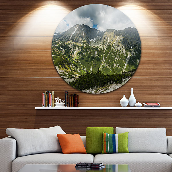 Design Art Panoramic Vista Over Mountains Ultra Vibrant Landscape Oversized Circle Wall Art