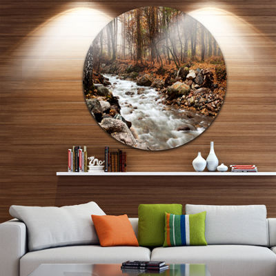 Design Art Stream in Autumn Forest Landscape Photography Circle Metal Wall Art