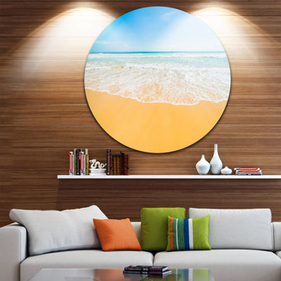 Design Art Long Waves on Sand under Blue Sky UltraVibrant Seascape Metal Circle Wall Art