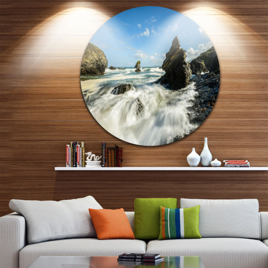 Design Art Roaring Atlantic Rocky Coast Seascape Circle Metal Wall Art