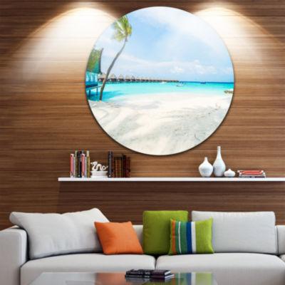 Design Art Tropical Maldives Island Ultra VibrantSeascape Metal Circle Wall Art