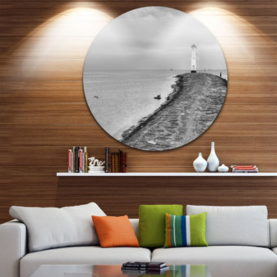 Design Art Lighthouse Windmill Stawa Mlyny in GreyUltra Vibrant Seascape Metal Circle Wall Art