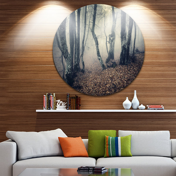 Design Art Mystical Yellow Fog in Fall Forest Landscape Oversized Circle Wall Art