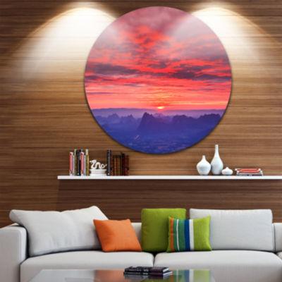 Design Art First Light Morning Sunrise Skyline Photography Circle Metal Wall Art