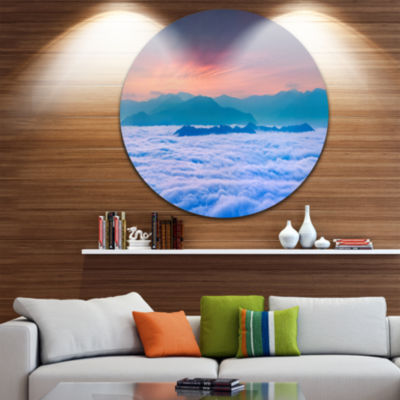 Design Art Sea of White Fog and Mountains Landscape Photography Circle Metal Wall Art