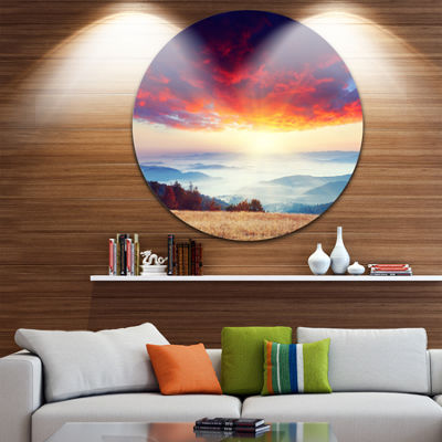 Design Art Colorful Clouds and Foggy Hills Landscape Photo Circle Metal Wall Art