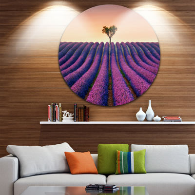 Design Art Lavender and Lonely Tree Uphill Landscape Photography Circle Metal Wall Art