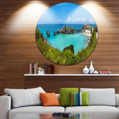 Design Art Tobacco Bay Panorama Ultra Vibrant Landscape Metal Circle Wall Art
