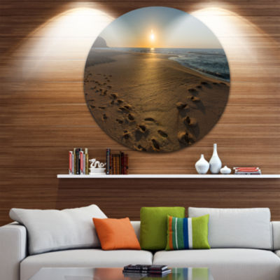 Design Art Sydney Seashore at Sunrise Ultra Vibrant Seascape Oversized Circle Wall Art