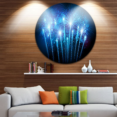 Design Art Blue Fireworks at Night Sky Skyline Photography Circle Metal Wall Art