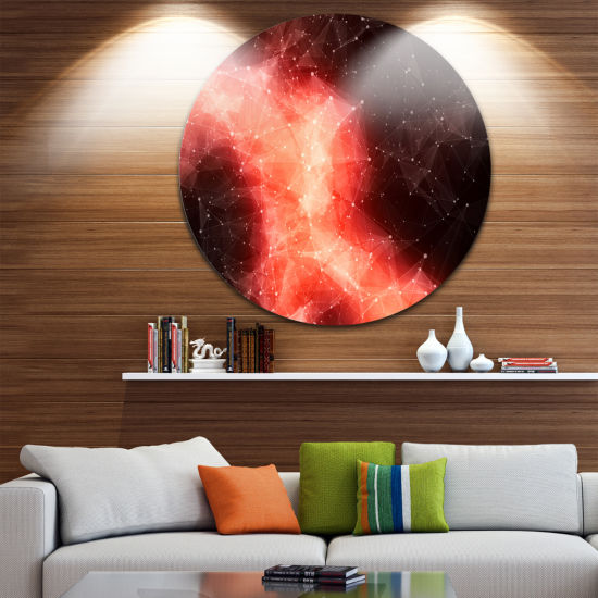 Design Art Red Nebula in Cosmos Abstract Circle Metal Wall Art