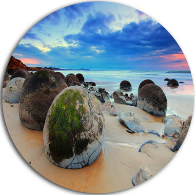 Design Art Cloudy Sunrise Over Moeraki Boulders Seashore Photo Circle Metal Wall Art